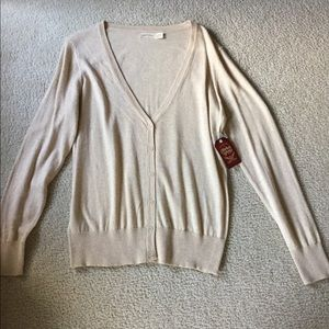 NWT ladies large beige cardigan sweater